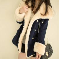 Women 2014 Fashion double breasted winter coat female college  winter jacket women fur collar Warm Outwear
