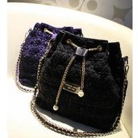 NEW arrival Ladies Shoulder's Bag Woolen bucket drawstring chain women's handbag black blue free shipping