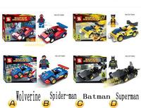4 Set avengers Super man Spider-Man batman minifigures Wolverine Racing Car block toy Compatible