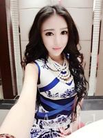 The European station 2014 Summer new western style store vintage blue and white porcelain slim dress modern cheongsam
