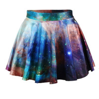 Womens Fashion Retro Vintage Rockability Skater Galaxy Digital Print Bottom Skirt (Size M; Color Multicolor)