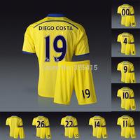 2014 Chelsea away yellow jersey with short soccer uniforms kit Hazard diego costa fabregas oscar drogba Schurrle terry willian