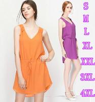 New 2015 women Summer dress,plus size XXLXXXL/4XL V-neck sexy chiffon party dress, Slim brief asymmetric casual dresses