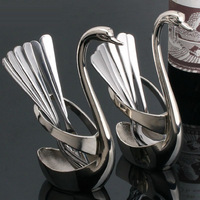 Beautiful Gift Stainless Steel Swan Style Fork Spoon Holder (swan fork spoon holder)
