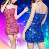 Night Club Sexy Paillette Strap Dress Women Lady Stage Dance Dress Nobody Costume