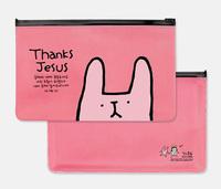 50PCS Korea Stationery Multipurpose PVC Pencil Bag Bunny Transparent Storage Pouch Stationery Bag Pulled  Side Bag