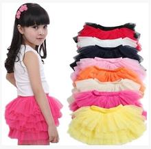 girls tutu skirts baby ballerina skirt childrens chiffon fluffy pettiskirts kids Hallowmas silk casual skirt(China (Mainland))