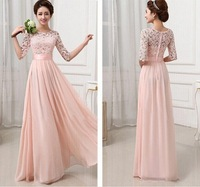 Evening Dress 2014 Fashion Women Cute Dress Sexy Half Lace Sleeve Chiffon Hollow Out Maxi Evening Party Long Dress S M L