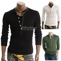 Men Spring Autumn Fashion Slim V-Callor Long Sleeve T Shirt/Drop Shipping Hot sale High Quality 3748