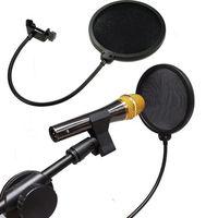 Useful Double Layer Studio Microphone Wind Screen Mask Gooseneck Filter Black