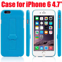 Colorful Plastic Silicone Phone Cover Hard Case with Holder Stand For iPhone 6 4.7 inch Protective Cases Shell