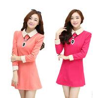 2014 new autumn Korean large size women's temperament Slim thin waist doll collar long-sleeved woolen dress