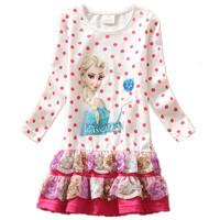 New frozen children's dress Europe and United States princess female children's clothing FORZEN long-sleeved children's dress