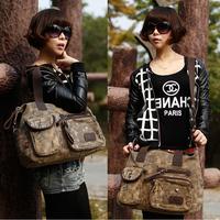 2014 new camouflage canvas bag shoulder bag woman bag hand diagonal Korean fashion casual large capacity bag