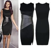 1201 New 2015 Fashion Slim OL Leather Patchwork Casual Pencil Dress Woman Sexy Bodycon Sleeveless Elegant Party Dresses Vestido