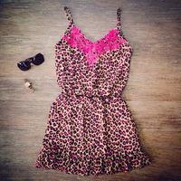 women sleeveless rose lace leopard chiffon hammock dress dress