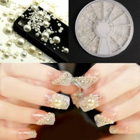 2014 New style Glitter Manicure DIY Decoration 3D Fashion Nail Art Tips Pearl Acrylic Gem