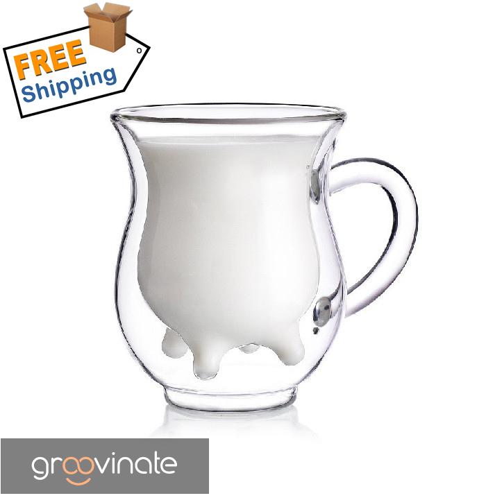 2014 Glass milk cup Fred and Friends Half Pint Creamer,calf Half mini carton creamer milk mug 11*11*11cm()