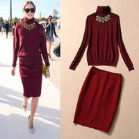 Best Quality!New European Autumn Winter Fashion Women Turtleneck Knitted Sweater+Pencil Cotton Skirt(1Set) Sweater Skirt Suit