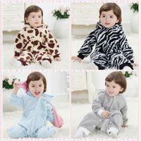 2014 winter baby rompers baby boy and girl warm fleece baby clothes milk cow/elephant/zebra/rabbit 4 looks recien nacido