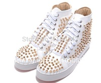 2014 new brand red bottom men red sole spikes men sneakers flat lace up canvas shoes with rivet men casual shoes canvas sneakers