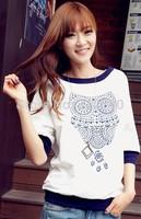 Big size S-XL women owl top casual shirts Animal O-neck fashion t shirt blusas femininas autumn gift women clothing
