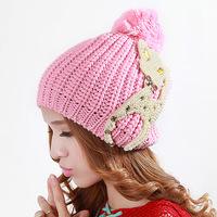 Madam butterfly knot knitting Mao Xianmao Korean version of the new cute little fox ball winter warm hat DG0747
