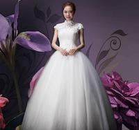 2015 Direct Selling Sale Reference Images Tea-length Wedding Dress Princess Shoulders Elegant Bride In High-grade Simple Bandage
