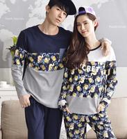 Autumn And Winter Lovers 100% Cotton Sleepwear Romantic Floral Print Patchwork Long-sleeve Lounge Set Tracksuit Pyjamas Women