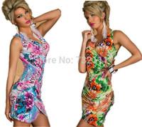 New 2014 EuropeanSummer Women Sexy Floral Deep V-neck Dress Pencil Dress Bodycon Slim Bandage Dress  HD036