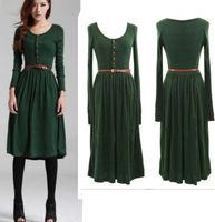 Women's Knit Long Sleeve Button Pleated Long Retro Dress With Belt SZ M-XL Green Black Color Elegant Dress Free Shipping
