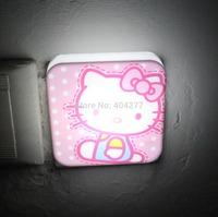 Cute Hello Kitty Cartoon Design Square LED Decoration Photoreceptor NightLight Bed Lamp Home Decoration Light Cartoon Light