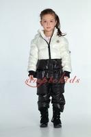 2014 Fashion twinset children's down coat set girls winter down jacket pants,high end children's winter clothing