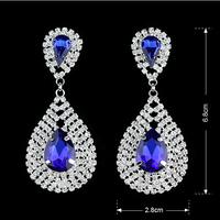 Fashion Elegant Leaf Bridal Dangle Earrings Gold/Silver Plated Austrian Crystal 10 Colors Women Wedding Drop Earrings