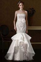 Gorgeous Strapless Lace Charming Handmade Flower Sash Lace Mermaid Wedding Dress Vestido De Noiva Wedding dresses