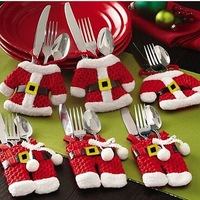 6Pcs Handmade Mini Clothes Pants Shaped Christmas Santa Claus Cutlery Suit Silverware Holder Knives and Forks Pockets Gift