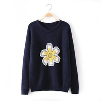 Korean Fashion Girl Sweet Sweaters for winter Long Sleeve O Neck Women Boutique Sweaters 2 Colors YS93590