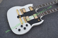 new arrived double neck/head electric guitar with gold hardware and jade button made in China free shipping F-1892