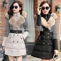 fur new Winter Coat Women 2014 Fashion women's white duak down parkas thick slim outwear brand jackets vestidos