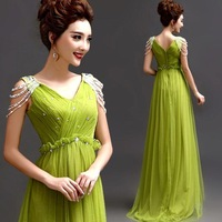 Elegant NET yarn lace deep v neck bride wedding toast clothing long green dinner party evening dress dresses high waist