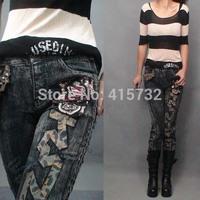 Free Shipping 2014 New Denim Jeans Trousers For Women Zipper Rivet Decoration Rock Punk Tassel Jeans Pants Stretch Plus Size XL