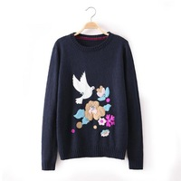New Flowers and Birds Embroidery Girl Sweet Sweaters for winter Long Sleeve O Neck Women Boutique Sweaters 2 Colors YS93501