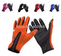 Free Shipping Warm Zipper Touch Screen Gloves Full Finger Anti-slip Cycling Ski Gloves