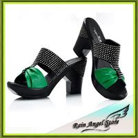 Summer Flip Flops Platform High Heel Slippers Rhinestone Leather Sandals Women's Shoes For Summer sandalias plataforma