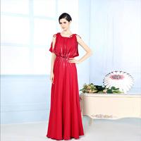 Fashion Evening Dress Floor-length Excellent Silk Dress Party Evening Elegant Red Color Sequins Decoration Long Evening Dress