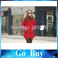 Free shipping YF0801 Winter Jacket Thicken Slim Female Raccoon Fur Collar Long Coat Women Parka Winter Coat Plus Size