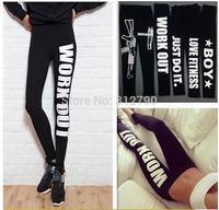 HOT!2014 fashion women Harajuku design gun legging Work out Letter print black slim tights sexy  Leggings womens Emoji jogger