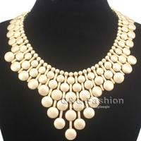 Matt Gold Egypt Cleopatra Lots Beads Chain Armor Statement Collar Bib Necklace Jewelry Free Shipping