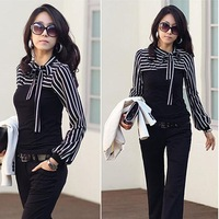 Wholesale 2014 New Casual Lady clothing Women T-Shirt Turtleneck Stripes Long Puff Sleeve Cotton Tops