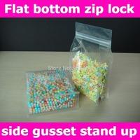 Free shipping,10x20+5cm(4''X7.9''+2'') Flat bottom stand up zip lock bags